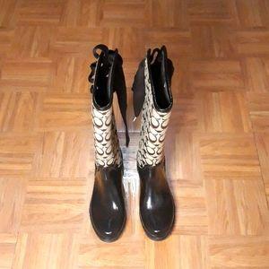 NWOT Coach Lace Up Waterproof /Winter Rain Boots